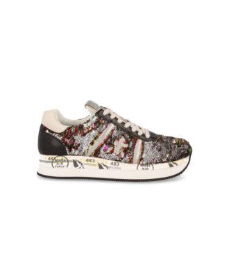 Dettagli su Premiata CONNY 2972 sneakers Donna Argento Nero Fondo Bianco scarpe