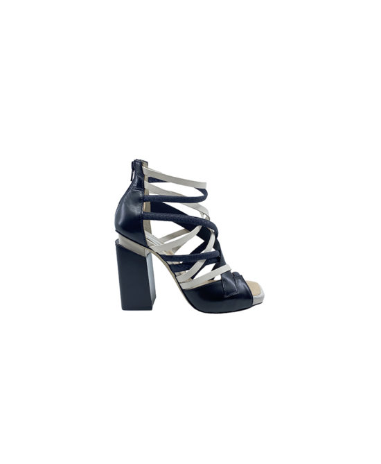 Ixos - Sandali donna in pelle - Art. 70072 Latte-Nero